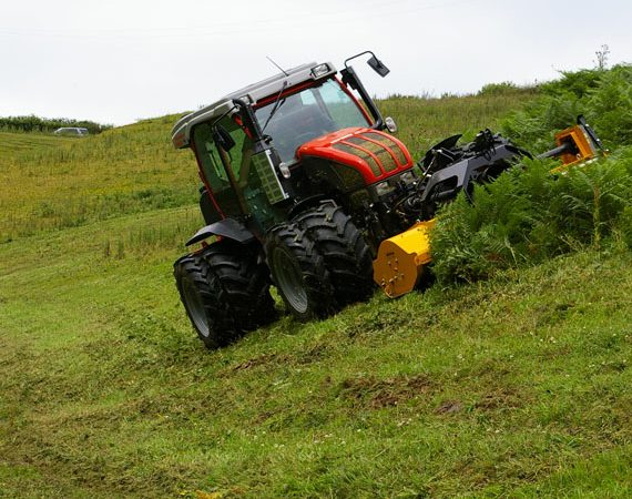 tractor on slope